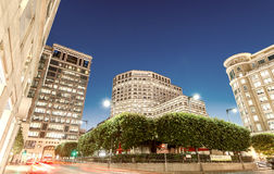 LONDON - JUNE 15, 2015: Canary Wharf at night. Canary Wharf with Royalty Free Stock Photography