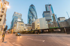 LONDON - JUNE 12, 2015: City of London skyline at dusk. London a Royalty Free Stock Photo
