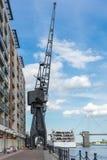 LONDON - JUNE 25 : Old dockside crane in London on June 25, 2014 Stock Photography