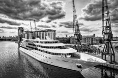 LONDON - JUNE 25 : Sunborn Hotel Royal Victoria Dock  in London Royalty Free Stock Photos