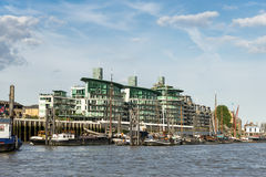 LONDON - JUNE 25 : Thames barges moored on the River Thames in L. Ondon on June 25, 2014 royalty free stock images