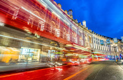 LONDON - JUNE 2015: Traffic after sunset in Oxford Street. Londo Stock Photography