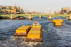 London cityscape from the river thames stock photos
