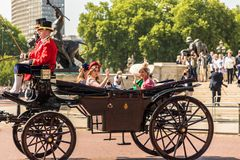 British royal family. London. June 9 2018. A view of the royal carriage carrying members of the royal family Princess Beatrice and the Countess of Wessex at the stock photography