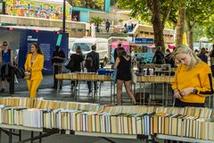 South bank in London. London. June 2018. A view of the second hand book stalls along the south bank in London royalty free stock images