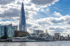 LONDON - JUNE 25 : View of the Shard and HMS Belfast in London o Stock Photos
