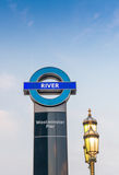 LONDON - JUNE 11, 2015: Westminster Pier sign with lamp post Stock Image