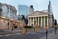 London-königlicher Austausch und Bank of England lizenzfreie stockfotos