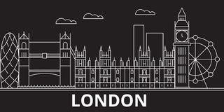 London konturhorisont Storbritannien - London vektorstad, brittisk linjär arkitektur, byggnader London lopp stock illustrationer