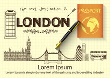 London kritzelt auf gelbem Papier mit Füllfederhalter 3D und Pass Stockbilder