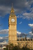 London landmark. Big Ben's home, Westminster Clock Tower, in evening sunlight royalty free stock images