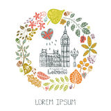 London  landmark.Autumn leaves wreath,Big Ben Stock Photos