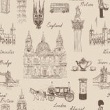 London landmark seamless pattern. Doodle travel Europe sketchy l Stock Photography