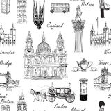 London landmark seamless pattern. Doodle travel Europe sketchy l Stock Photos