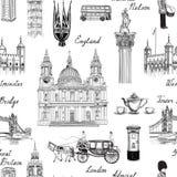 London landmark seamless pattern. Doodle travel Europe sketchy l Stock Photos