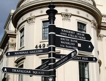 London Landmark Signs. Direction road signs to famous landmarks and tourist sites in london stock photo