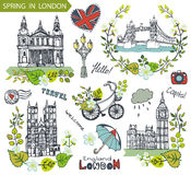 London  landmark.Spring green leaves wreath group Stock Photography