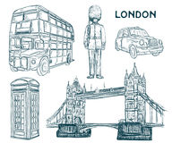 London landmark symbols in sketch style. Royalty Free Stock Photography