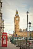 London landmarks. Big Ben and phone booths in London Stock Photos
