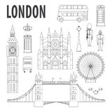 London landmarks, design elements in modern linear style Royalty Free Stock Photography
