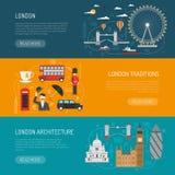 London Landmarks Flat Banners Set Stock Images