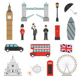 London Landmarks Flat Icons Set royalty free illustration