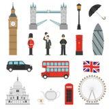 London Landmarks Flat Icons Set Royalty Free Stock Photos