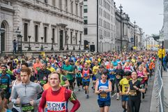 The London Landmarks Half Marathon. 25 March 2018 - London, England. Brand new, closed road, central London half marathon taking in the City and all of the stock image
