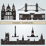 London landmarks and monuments. On blue background in editable vector file Royalty Free Stock Photos