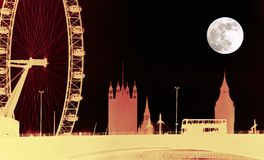 London Landmarks Night. Creative skyline of the London Eye, Big Ben, Westminster and London bus with moon at night Stock Photos