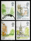 London Landmarks Postage Stamps. UNITED KINGDOM - CIRCA 1980: Set of British Used Postage Stamps showing London Landmarks, circa 1980 Stock Photography