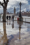 London landmarks reflected in puddle. LONDON, UK - MARCH 6, 2016:People and objects reflected in puddle on the Southbank Stock Photo
