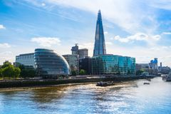 London landmarks on the south bank, the Shard and City Hall Royalty Free Stock Photo
