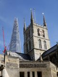 London landmarks: Southwark Cathedral and Shard royalty free stock images