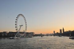 London Landmarks. London Thames skyline with London Eye, Big Ben, Westminster and river Thames Stock Images