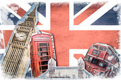 London landmarks, vintage collage. London landmarks, union jack vintage collage stock images