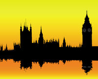 London landscape. Silhouette of the London landscape on an orange background Stock Photo
