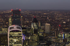 London landscape at night. Modern buildings of London, aerial view at night. Seen : Walky talky building, the gerkin Royalty Free Stock Image