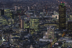 London landscape at night. Modern part of London, aerial view at night Stock Photography