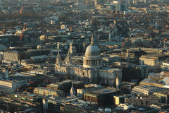 London landscape with St.Paul at sunset. Buildings of London, aerial view at sunset. Main focus on St.Paul cathedral Stock Image