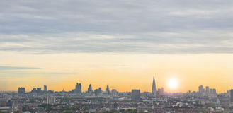 London Landscape at sunrise. A picture of a london landscape with the sunrise and clouds in the sky Royalty Free Stock Photography