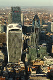 London landscape at sunset. Modern buildings of London, aerial view at sunset Royalty Free Stock Photography