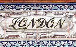 London. Laying ceramic letters the name from the English city of London Stock Image