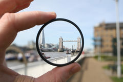 London through a lens. London Bridge and The Shard through a filter Royalty Free Stock Image