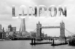 London Lettering in Black and White royalty free stock photo