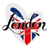 London lettering. Hand written London. UK flag in a heart shape. Stock Photo