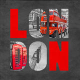 London letters with images on textured black background. Selective color red Royalty Free Stock Images