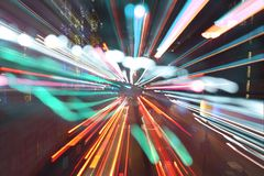 London light rush. Long exposure and zooming to acheive light rush effect of london street Stock Photo
