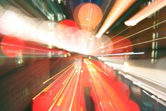London light rush. Long exposure and zooming to acheive light rush effect of london street stock photography