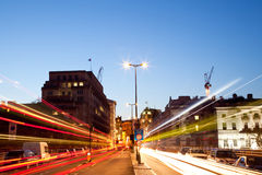 London Light trail. London Cityscape with Road Light Trail at dusk using for City Lifestyle transportation Royalty Free Stock Images